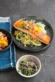 Salmon with citrus salad and fennel
