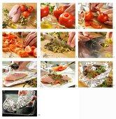 Italienisches Folien-Hähnchen mit Tomaten, Kapern und Oregano zubereiten