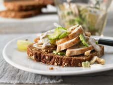 Chicken salad with grapes and nuts on toasted bread