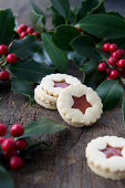 Jammy dodger biscuits and holly