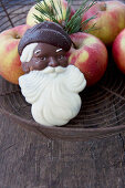 White and dark chocolate Father Christmas