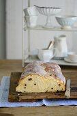 A sweet yeast bread plait with a sugar glaze
