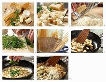 How to make spaghetti with herb soy cream and smoked tofu
