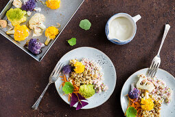 Cereal salad with roasted cauliflower florets