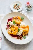 Saffron ravioli with goat's cheese and beetroot sauce (Easter)