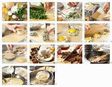 How to make giant ravioli filled with eggs and herbs with morel sauce