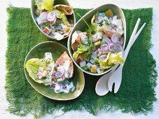 Vegetable salad with apple and yoghurt sauce