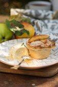 Salted caramel apple pie with vanilla ice cream