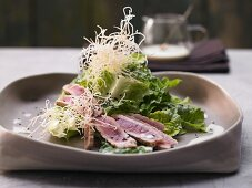 Romaine lettuce with wasabi dressing, tuna and fried noodles (Asia)