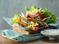 Turkey strips on a colourful salad with pine nuts and grapefruit sauce