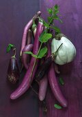 Various types of aubergine with mint