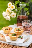 Filo pastry muffins with duck eggs and pancetta for a picnic