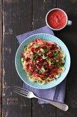 Tagliatelle with beetroot pesto with cilantro