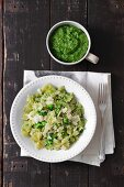 Farfalle with broccoli and spinach pesto