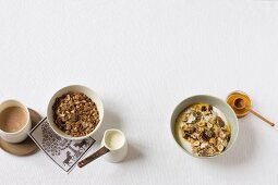 Chocolate muesli and muesli with dried fruits
