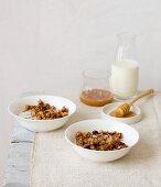 Crunchy muesli with honey and milk