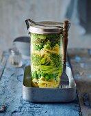 Pasta primavera in a jar
