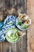 Avocado and yoghurt dip with toasted flatbread