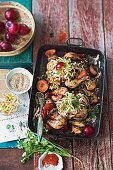 Miso chicken with apple kimchi and plums