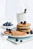 Healthy pancakes with bananas, chia and blueberries