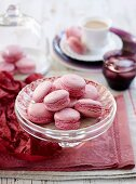 Beetroot and white chocolate macarons