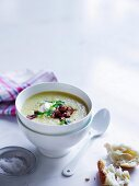 Spring Corn and bacon soup with creme fraiche