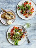 French trout salad with radishes and trout roe