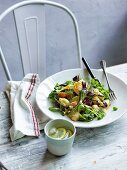 Chicken salad with baby beetroot, kipfler and beurre noisette dressing