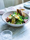 French Artichoke Nicoise salad with boiled eggs