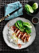 Grilled hoisin chicken with pak choy and rice (Asia)