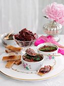 Chicken liver parfait with onion jam and toast strips