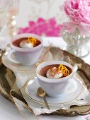 Chocolate and coffee mousse with chilli served in coffee cups