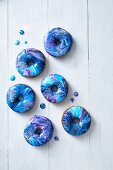 Doughnuts with a blue and purple marbled glaze
