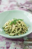 Low carb edamame pasta with wild garlic pesto