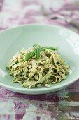 Low carb edamame pasta with wild garlic pesto