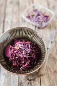 Black bean spaghetti with beetroot and radicchio