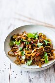 Shirataki noodles with marinated pork loin, peppers and coriander