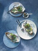 Poached oysters with cucumber and champagne beurre blanc