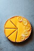 Lemon tart cut into slices
