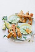 French toast roll-ups with ham, asparagus and avocado and rocket dip