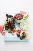 Lamb kebabs with watermelon salsa and dill and yoghurt dip