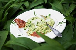 Wild garlic risotto with bacon