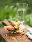 French toast with tomato, mozzarella and basil