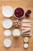 Ingredients for Vanilla and cherry cake with an amaretti base