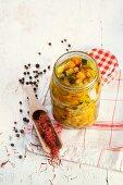 Vegetable sauce with salmon, carrots, pumpkin and saffron