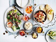 Aperol Spritz; Prawn Tostadas with corn relish ans chipotle creme fraiche; sticky pork skewers; The Rosita