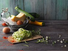 Ingredients for zoodles (zucchini noodles)