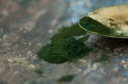 Spirulina algae powder on a metal surface and a spoon