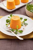 Pumpkin flans with lambs lettuce