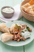 Greek-style kebab meat with garlic and dill quark